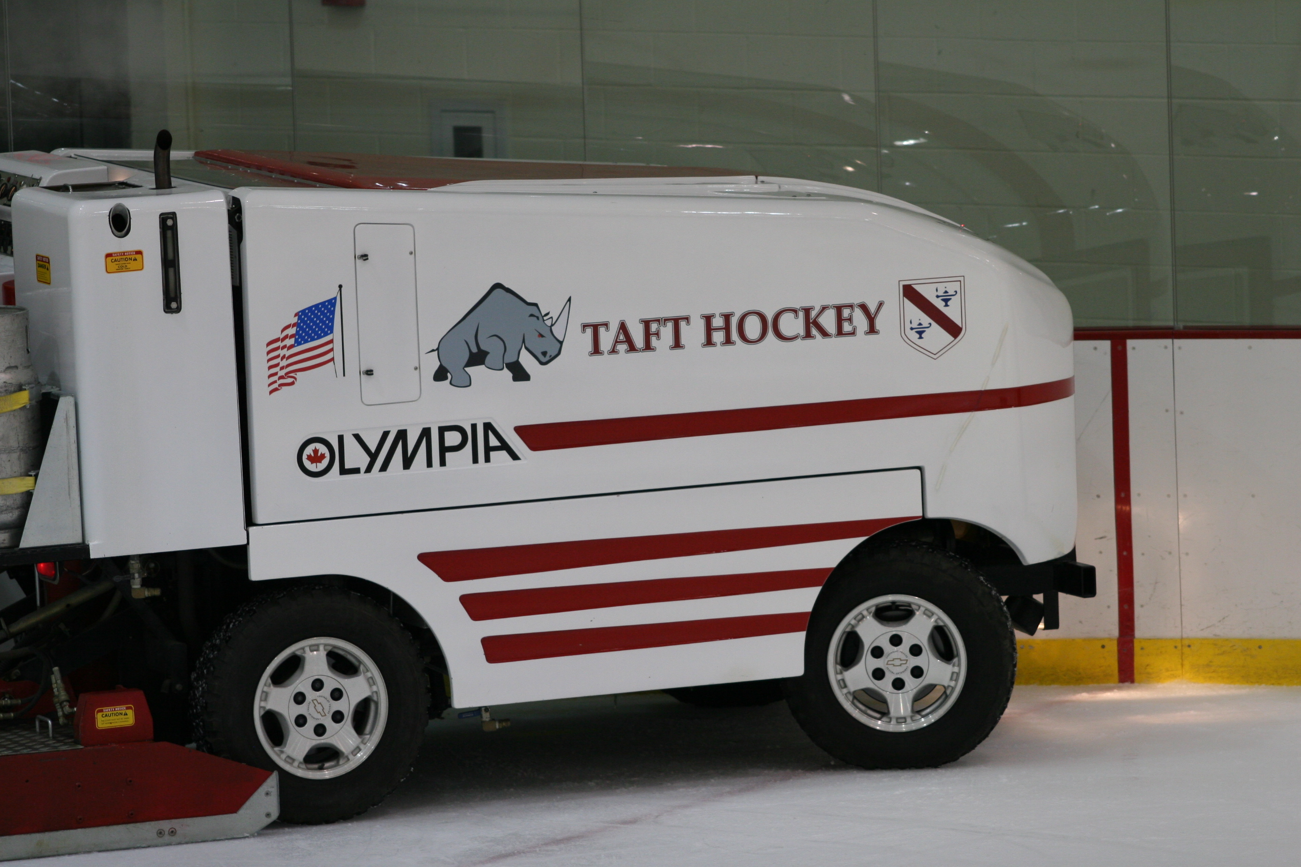 The Zamboni preparing the ice at the Taft School's Odden Arena