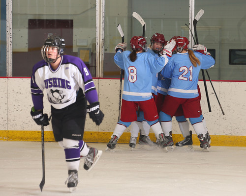 Ellinore (#21) celebrating a goal with her teammates Courtney, Paige, and Lilia at Cushing Academy