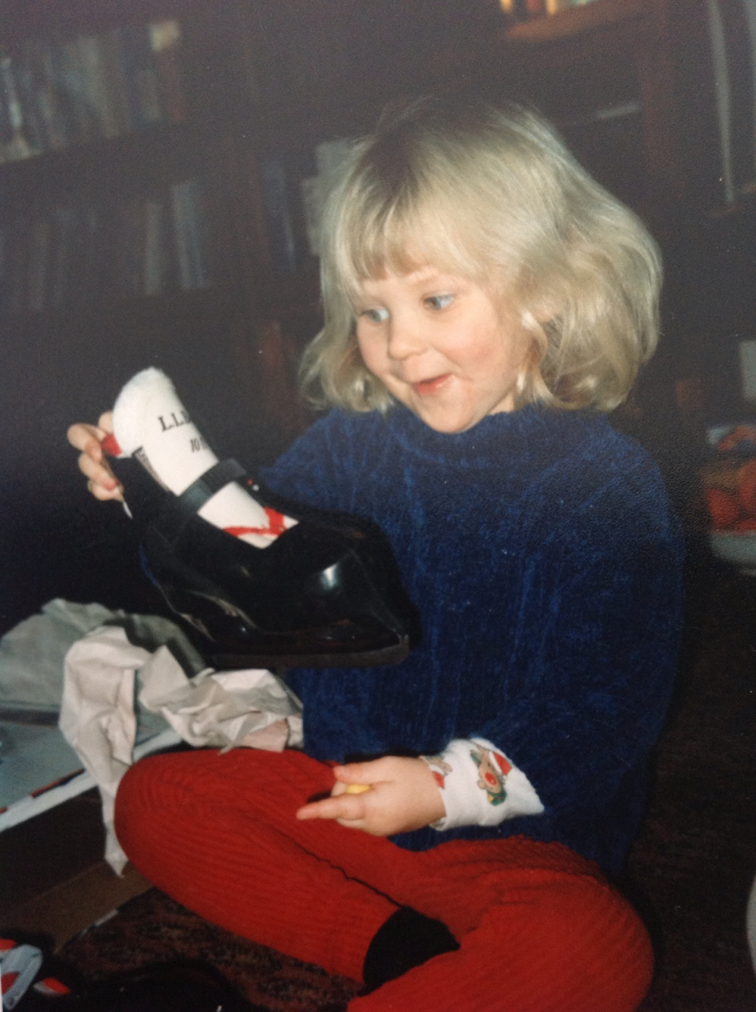 And, finally, where this whole show began: Ellie with her first pair of skates on Christmas morning in Surry, New Hamphire